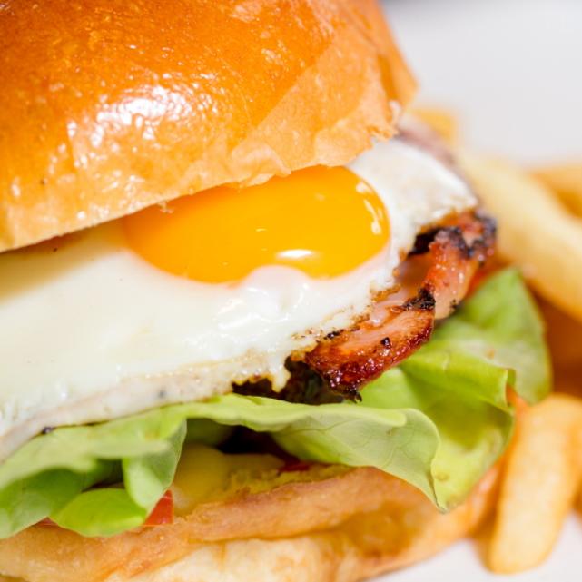 Egg and Bacon Burger - The Boatdeck